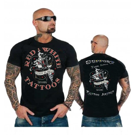 Hells Angels Red n' White Tattoos Support81 Black T-Shirt
