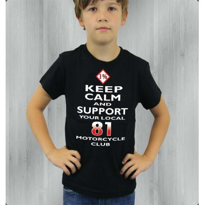 Hells Angels Support81 Keep Calm Black Children's T-Shirt