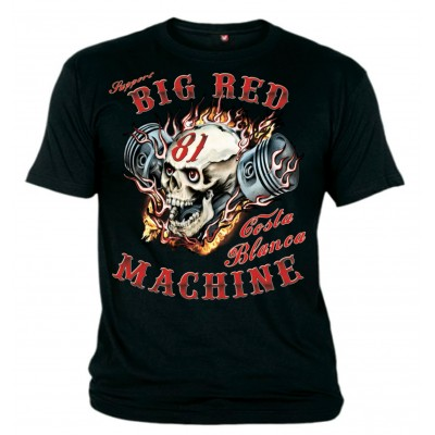 Hells Angels Big Red Machine Piston Scull Support81 Black T-Shirt