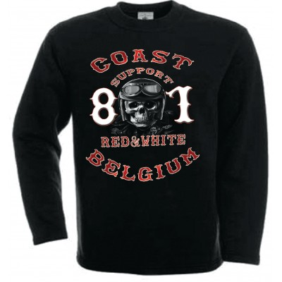 Hells Angels Coast Belgium Helmet Scull Support81 sweatshirt black