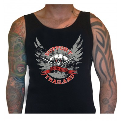 Hells Angels Nomads Thailand Scull Black Singlet Support81 Big Red Machine™