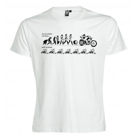 Evolution of Man  Support81 Biker White T-Shirt