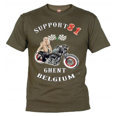 Hells Angels Ghent Belgium PinUp T-Shirt Olive