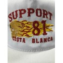 Hells Angels Support 81 flaming scull  embroidery baseball cap white