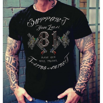 Hells Angels Tattoo Support81 Black T-Shirt